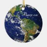 Marble_Peace azul en Earth_Goodwill a todos Ornamento Para Arbol De Navidad