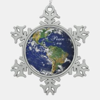 Marble_Peace azul en el copo de nieve de Adorno De Peltre En Forma De Copo De Nieve