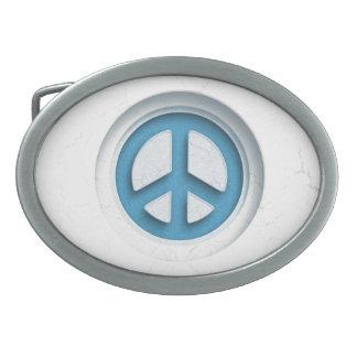 Marble Peace Oval Belt Buckle