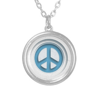 Marble Peace Silver Plated Necklace