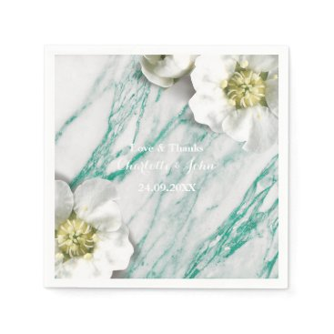 McTiffany Tiffany Aqua Marble Personalized Floral Tiffany White Mint Napkin
