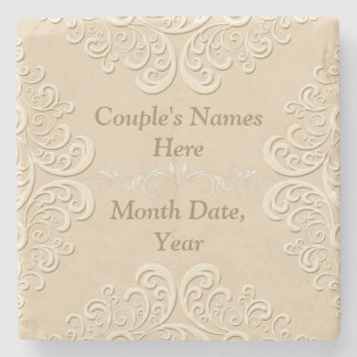 Marble Personalized Wedding Coasters