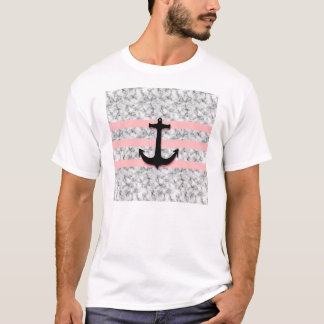 Marble Pink Stripes Nautical Anchor T-Shirt