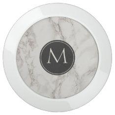 Marble Print Fashion Monogram Usb Charging Station at Zazzle