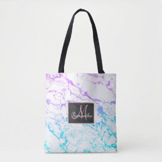 Marble purple blue turquoise mermaid watercolor tote bag
