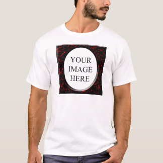 Marble Red Square Template T-Shirt