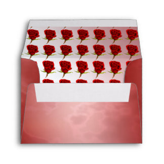 Marble Red with Roses Envelope