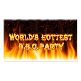 Marble Red World's Hottest BBQ Party Business Cards