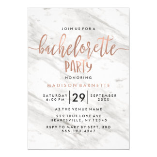 Marble & Rose Gold Bachelorette Party Invitation