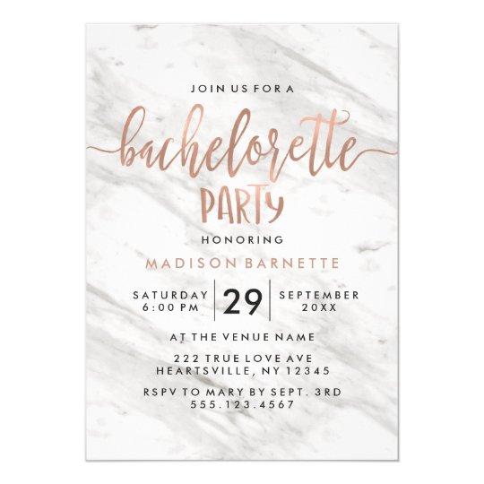 marble rose gold bachelorette party invitation zazzle com