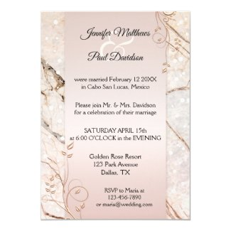 Marble Rose Gold Floral Post Wedding Invitation