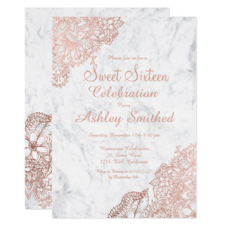 Marble rose gold floral Sweet 16 Card