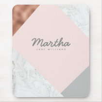 marble, rose gold, grey and blush pink mouse pad