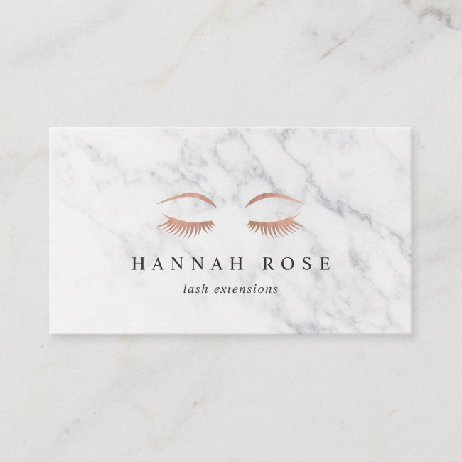 Marble & Rose Gold Lashes & Brows Beauty Business Card