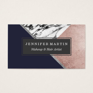 Marble Rose Gold Navy Blue Triangle Geometric Business Card