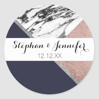 Marble Rose Gold Navy Blue Triangle Geometric Classic Round Sticker