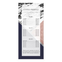 Marble Rose Gold Navy Blue Triangle Geometric Rack Card