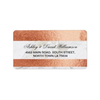 Marble Rose Gold Print Wedding Address Label