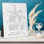 """Marble &amp; Rose Gold Salon Pricing/Services Display Plaque<br><div class=""""desc"""">Elegant plaque with easel displays your salon services or price list in charcoal grey lettering on a white marble background adorned with a scissors logo in faux rose gold foil. Includes three customizable headings and body text fields. To adjust layout, enter your text and then use the Customize function to...</div>"""
