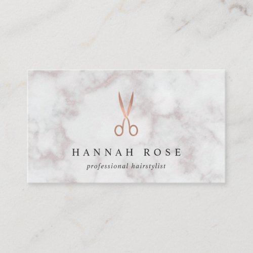 Marble  Rose Gold Scissors Logo Hairstylist Business Card