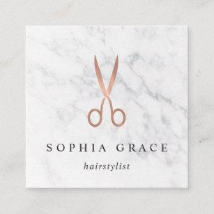 marble rose gold scissors logo hairstylist square business card - Hairstylist Business Cards