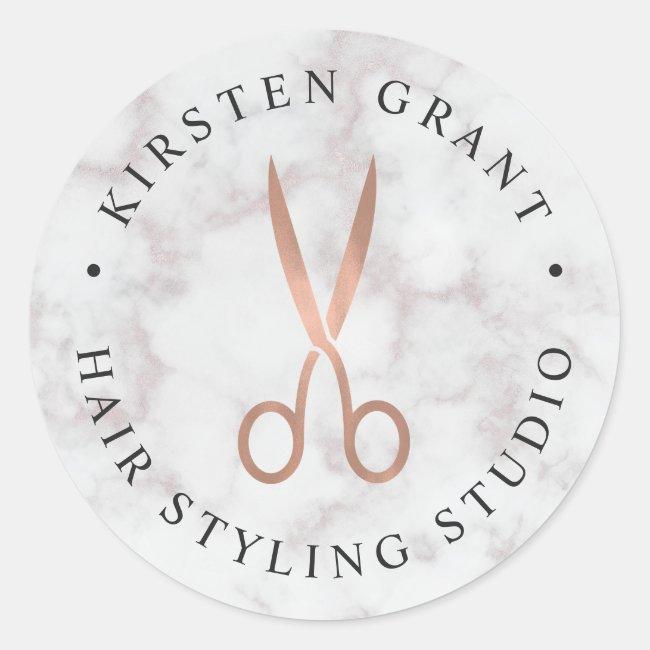 Marble & Rose Gold Scissors Salon Logo Classic Round Sticker