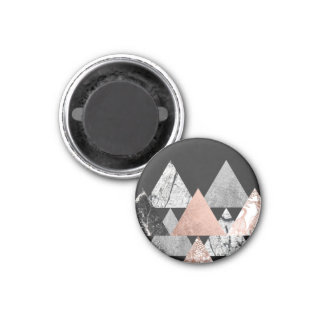 Marble Rose Gold Silver and Floral Geo Triangles Magnet