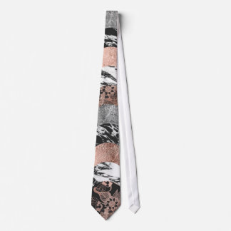 Marble Rose Gold Silver Floral and Black Circles Neck Tie