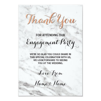Marble Rose Gold Thank You Card Engagement Wedding