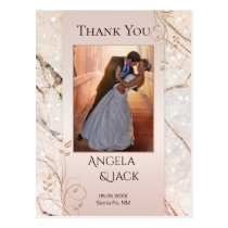 Marble Rose Gold Wedding Photo Thank You Postcard
