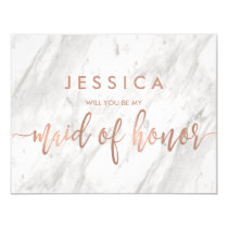 Marble & Rose Gold Will You Be My Maid of Honor Invitation