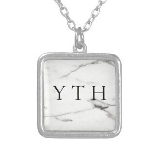 marble silver plated necklace