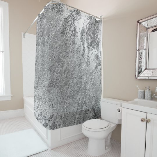 Marble Stone Abstract Metallic Silver Gray Luxury Shower Curtain