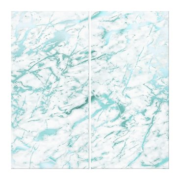 McTiffany Tiffany Aqua Marble Stone Abstract White Aqua Blue Tiffany Lux Canvas Print