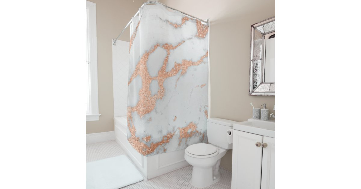 Marble Stone Abstract White Gray Rose Copper Gold Shower