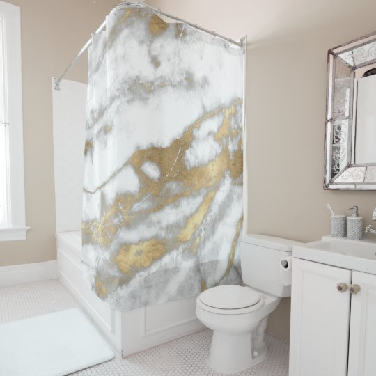 Marble Stone Abstract White Gray Silver Gold Carra Shower