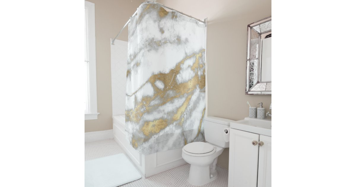 Marble Stone Abstract White Gray Silver Gold Carra Shower Curtain    Zazzle comMarble Stone Abstract White Gray Silver Gold Carra Shower Curtain  . Silver And Gold Shower Curtain. Home Design Ideas
