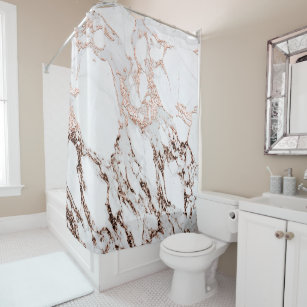 Marble Stone Metallic Copper White Carrara Gray Shower Curtain