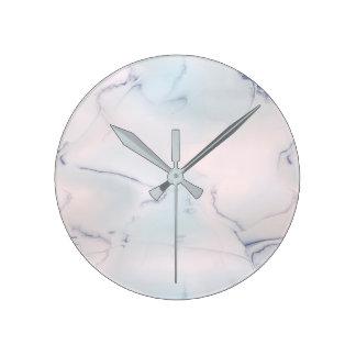 Marble Stone Pink Blue Black Opal Round Clock