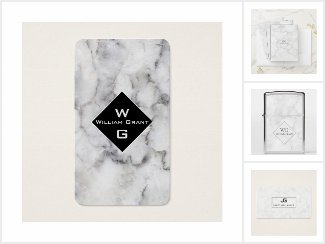Marble Stone Withe with Monogram