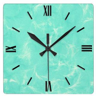 Marble swirl print - aqua blue square wall clock