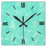 Marble swirl print - aqua blue wall clock