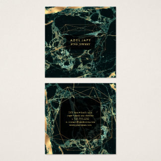 Marble Teal Green+Faux Gold Gemstone Facet Square Business Card