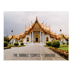 Marble Temple Of Gold Over Khmer Lion Bangkok Card at Zazzle