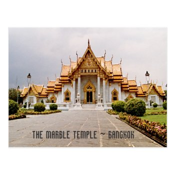 Marble Temple Of Gold Over Khmer Lion Bangkok Card by DigitalDreambuilder at Zazzle