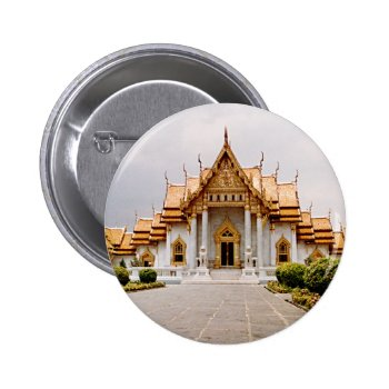 Marble Temple Of Gold Over Khmer Lion Button Tag by DigitalDreambuilder at Zazzle