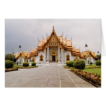 Marble Temple Of Gold Over Khmer Lion Card by DigitalDreambuilder at Zazzle