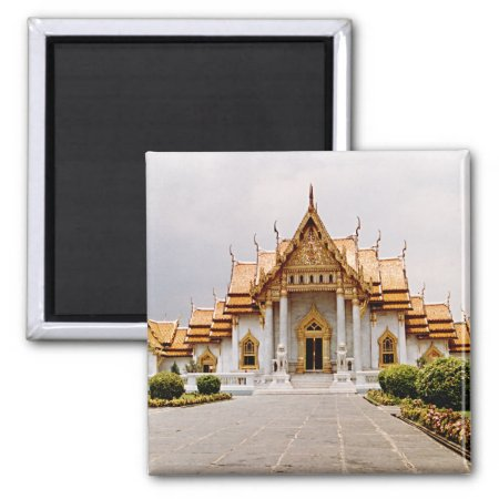Marble Temple Of Gold Over Khmer Lion Magnet