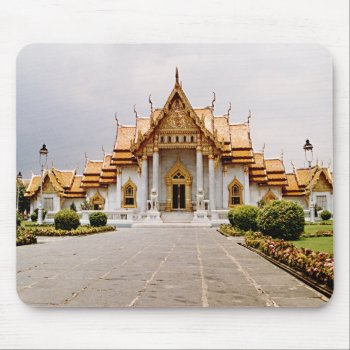Marble Temple Of Gold Over Khmer Lion Mousepad by DigitalDreambuilder at Zazzle