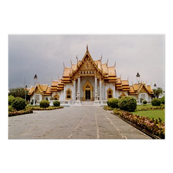Marble Temple Of Gold Over Khmer Lion Poster by DigitalDreambuilder at Zazzle